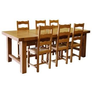Table de ferme ch ne 6 chaises achat vente table a for Table de salle a manger fermiere