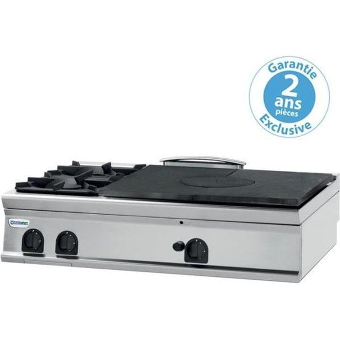 Plaque de cuisson - 2 feux vifs gaz et plaque coupe feu à poser - prof. 00 - Tecnoinox - 900 -