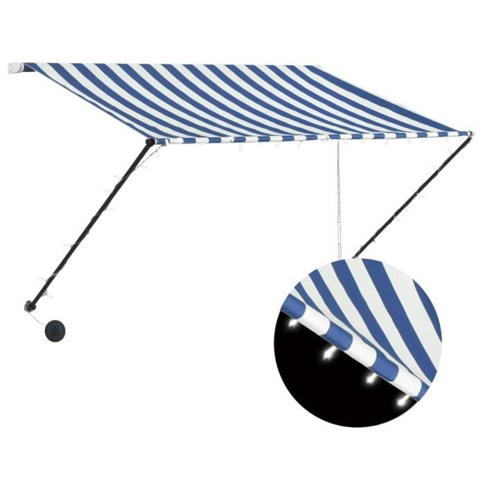 Auvent rétractable avec LED 250x150 cm Bleu et blanc -QNQ