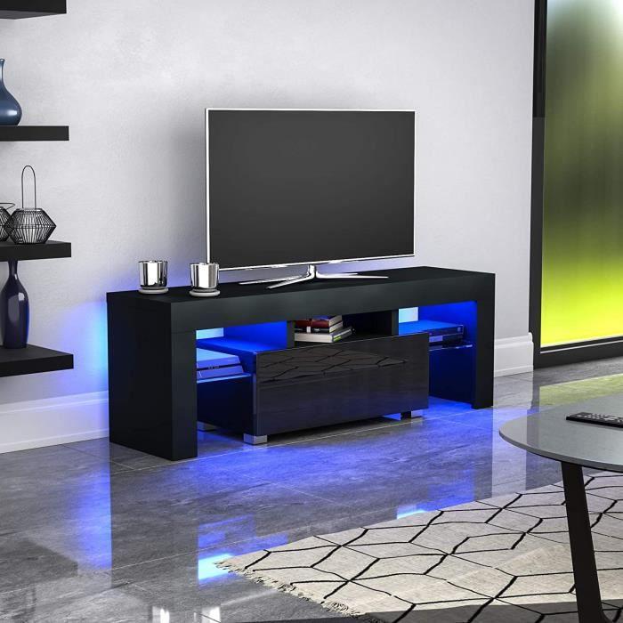 Meuble TV / Banc TV - H 130 cm - noir mat avec LED - style moderne - tablette en verre