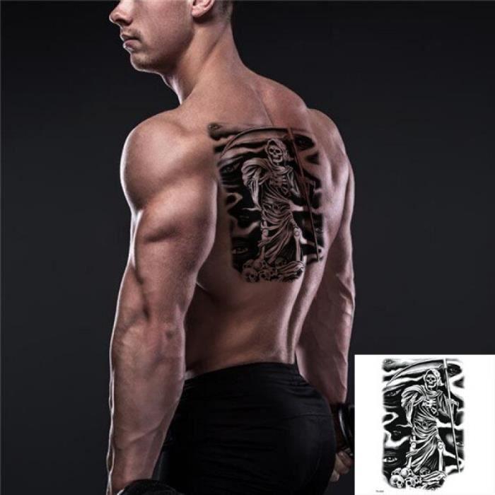 Tatouage Temporaire, TH-695,Sexy corps Art beauté maquillage noir Sexy dangereux crâne 3D étanche