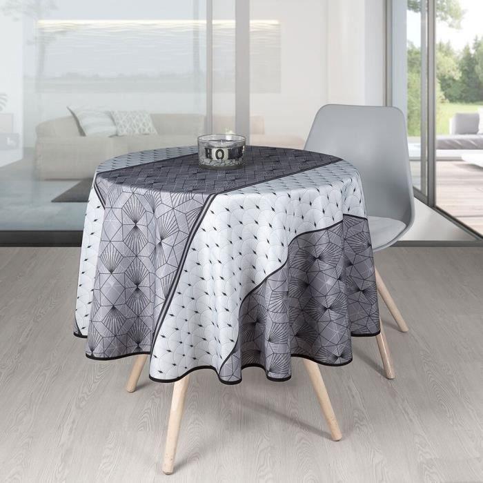 Nappe Antitache Ronde - Infroissable et 100% Polyester - Ø 160 cm - 4/6 couverts - Éventail - Gris - Intérieur ou Extérieur Ø