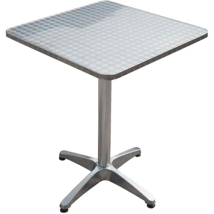 Table de bistrot en aluminium, carrée, H 70 cm