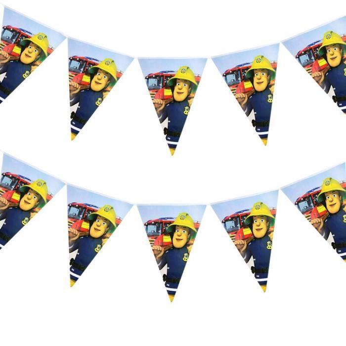 Banderole de fête Sam pompier 10 pièces-paquet - Décorations de fête d'anniversaire Sam pompier, banderole - JBHFCDC04060