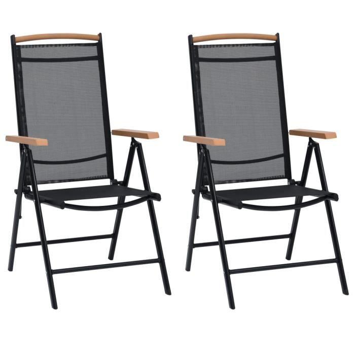 Soldes ®7783Lot de 2 Chaises pliables de jardin -Fauteuil de Jardin- Fauteuil Relax Chaises Camping Aluminium et textilène Noir