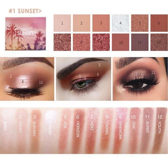 12 couleurs cosmétiques poudre Smoky fard à paupières palette pinceau de maquillage Miroir Set A G246A1