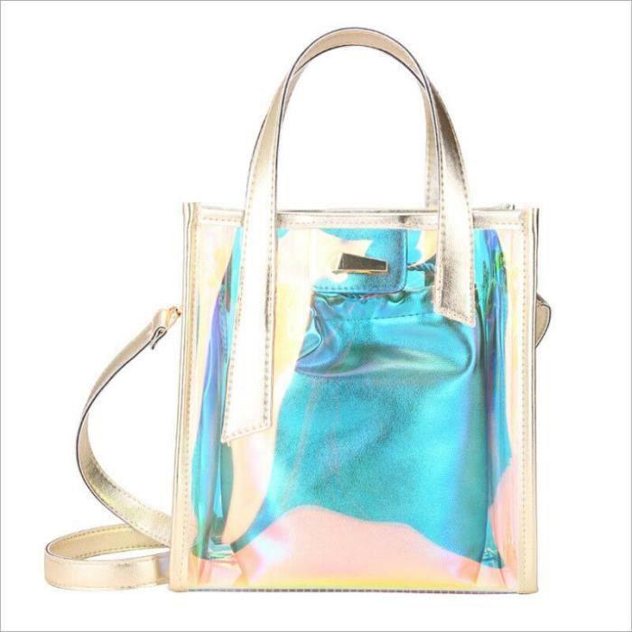 Femmes mode hologramme clair sacs fourre tout Transparent Messenger sac à main + sac intérieur~3*BU25317