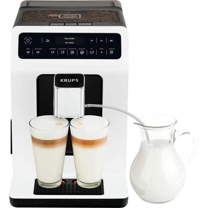 Krups Evidence Machine à café à grain Machine à café broyeur grain Cafetière expresso Cappuccino Espresso 15 boissons 2 tasses simul