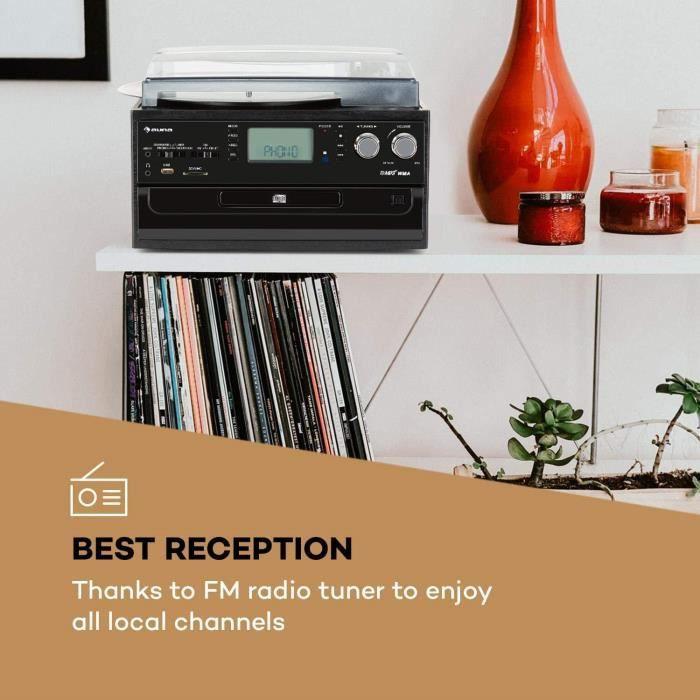 AUNA Oakland - Chaîne compacte, Rétro, Polyvalente, Platine Vinyle, Lecteur CD, Cassette, Port USB, Bluetooth, Télécommande, Entrée