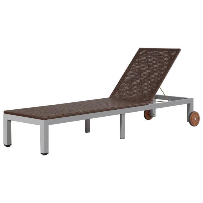MBP® Bain de Soleil Chaise de jardin Haut de gamme - Lit de repos d'extérieur avec roues Résine tressée Marron 797746