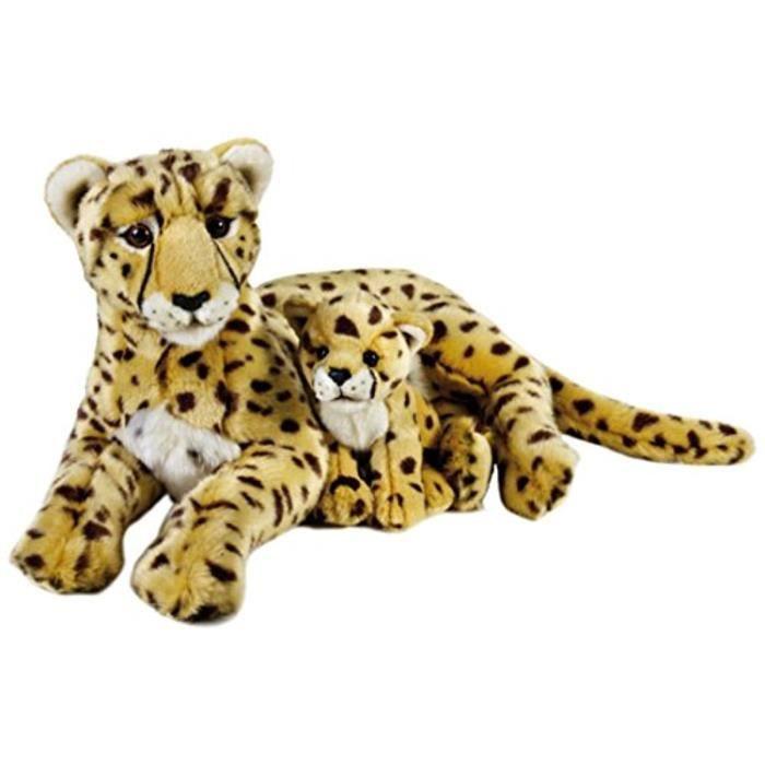 Geographics National -Guépard Animaux En Peluche Mère Avec Bébé Jouet En Peluche (2 Pièces, Naturel) 13633