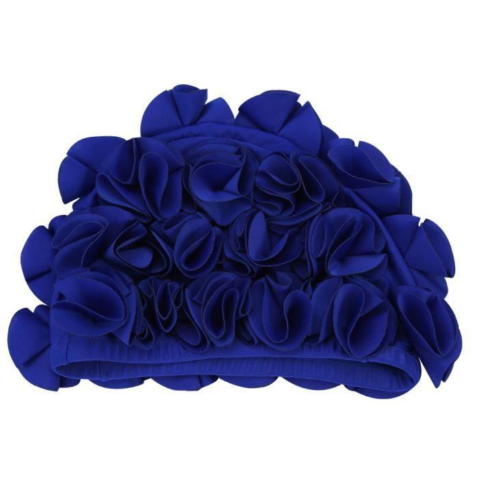 Garosa bonnet de bain rétro Femmes Enfants Fleur Forme Mode Bonnet De Bain Élastique Bonnet De Bain Cheveux Longs (Bleu)