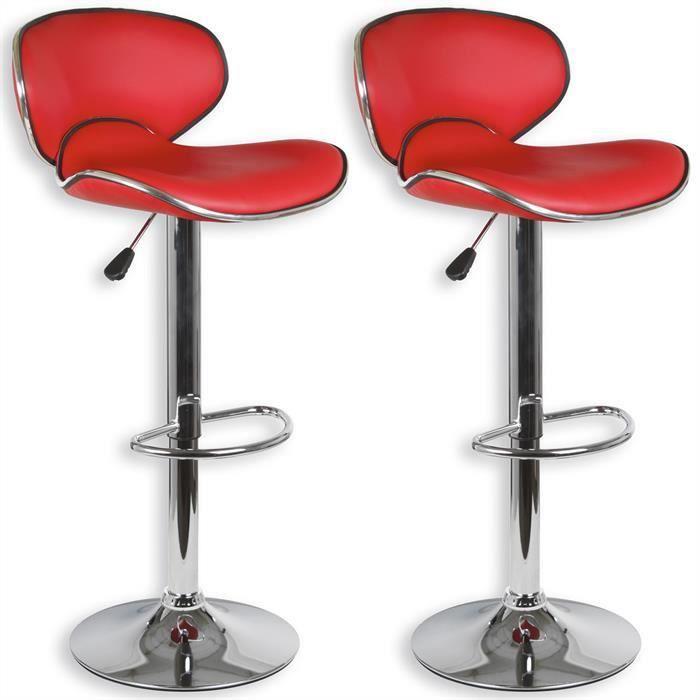 Lot de 2 tabourets de bar LOUNGE chaise haute design réglable avec dossier revêtement synthétique rouge