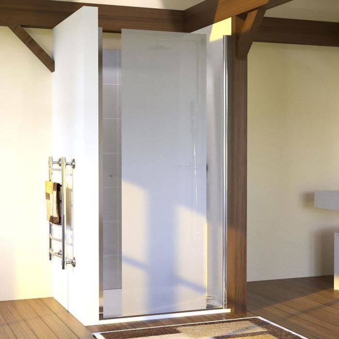CREAZUR Porte de douche pivotante Sandy - 90 x 190 cm - Verre trempé 6 mm