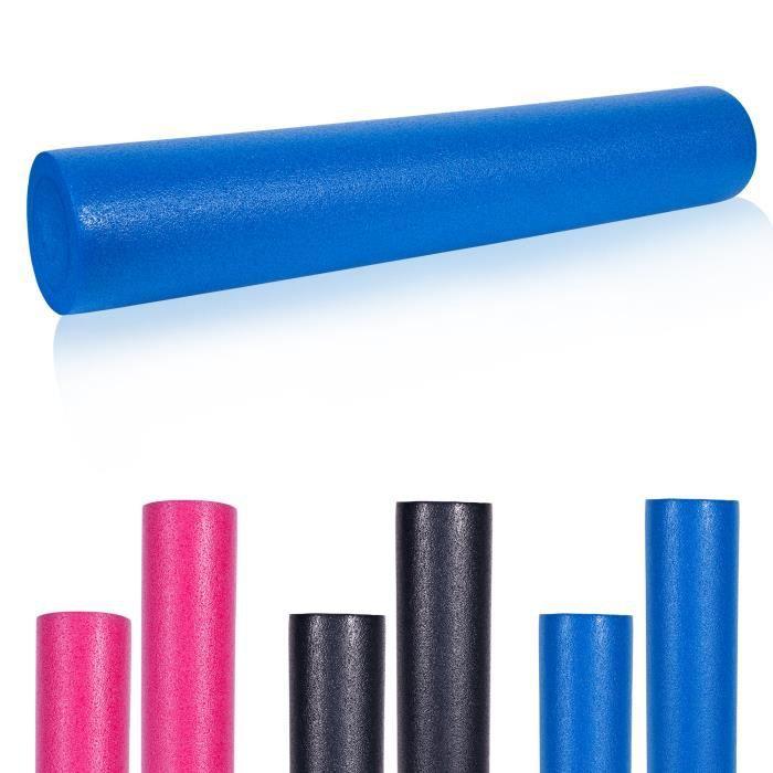 Rouleau de Pilates en mousse 90 x 15 cm - Rouleau de yoga pour l'auto-masage et la stimulation des fascias - Bleu