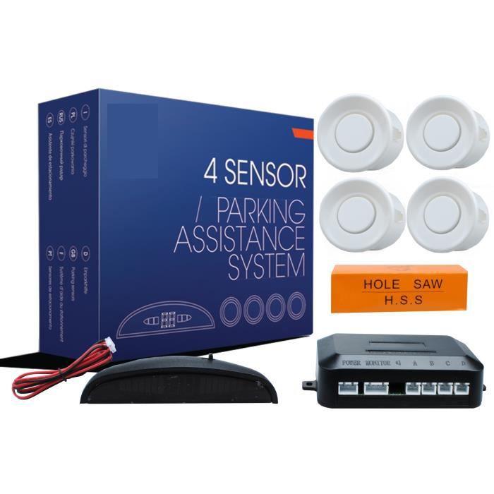 Kit radar de recul / stationnement blanc 4 capteurs avec affichage numérique