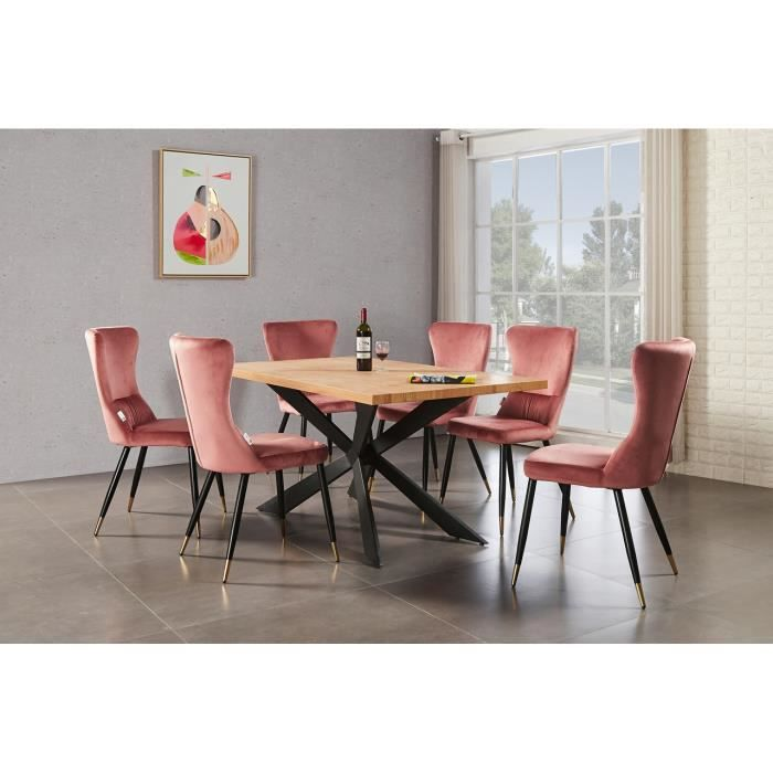 Ensemble Table à Manger Chêne 4 à 6 personnes + 6 Chaises en Velours Rose - Style Contemporain