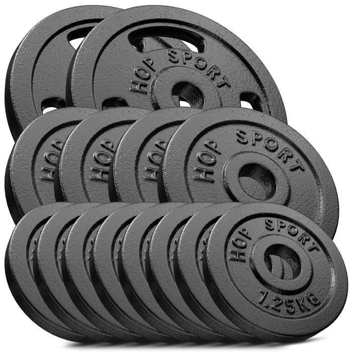 HS Hop-sport Disques en Fonte 30kg (2x5kg +4x2,5kg+ 8x1,25kg) SET C