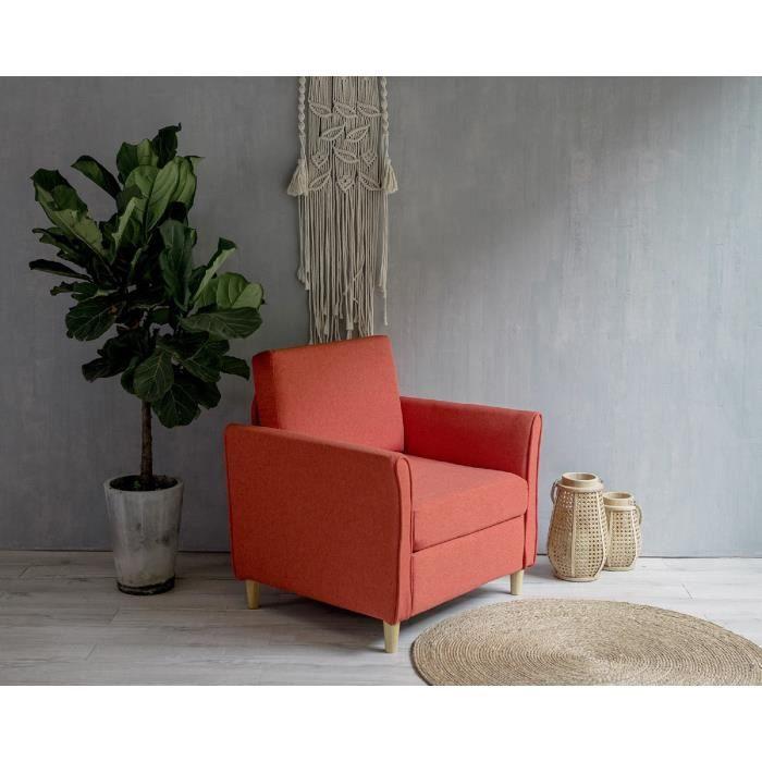 Laxllent Canapé Simple,80x71x81cm,Orange,Surface en Tissu Imitation Lin,Pieds en Bois,Montage Facile,Canapé 1 Place pour Appartement