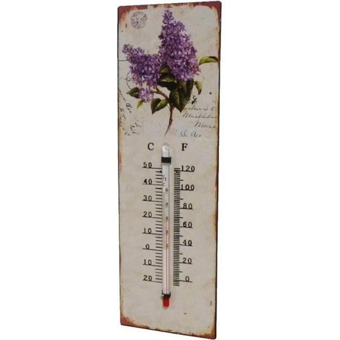 Thermomètre Mural Décoratif en Celsius ou Farenheit ou à Poser Motif -Floral- en Fer et Papier Vernis 0,5x8x25cm Multicolore