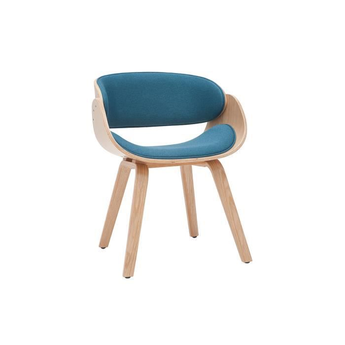 Miliboo - Chaise design tissu bleu canard et bois clair BENT