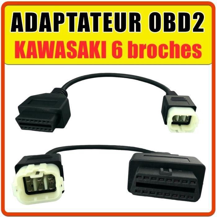 Prise OBD2 pour KAWASAKI 6 broches - Diagnostic moto - JPDIAG TUNE ECU