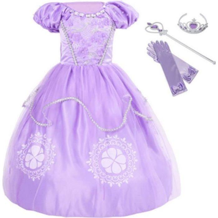FINDPITAYA Fantaisie Filles Sofia les Premiers Vêtements Robe Enfants Princesse D'anniversaire Robe + 3 Accessoires