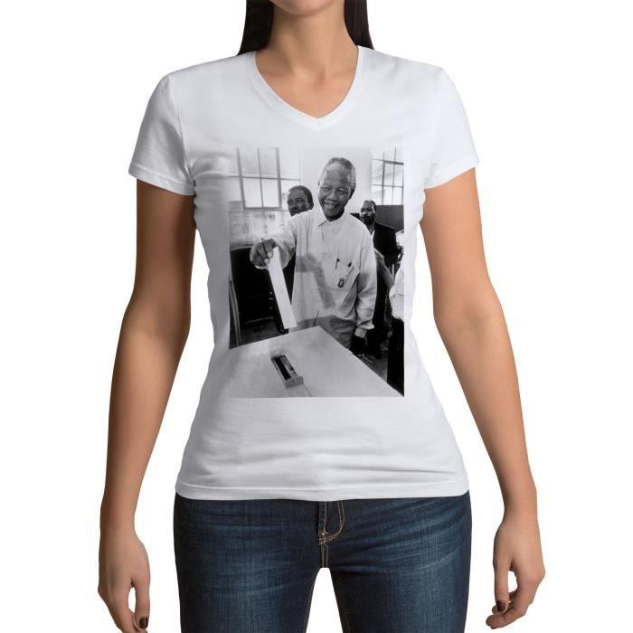 T-shirt Femme Col V Nelson Mandela Premier Vote Militant Droits Humains Afrique du Sud