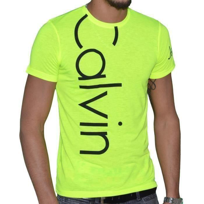 Tee Shirt Calvin Klein Homme Manche Courtes Jaune fluo