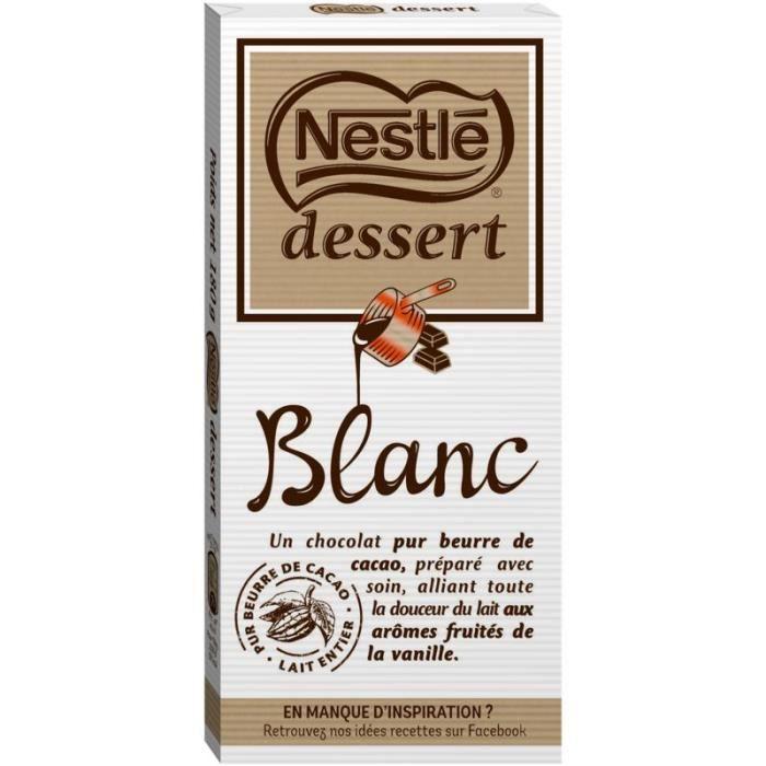 Chocolat dessert blanc 180g NESTLE