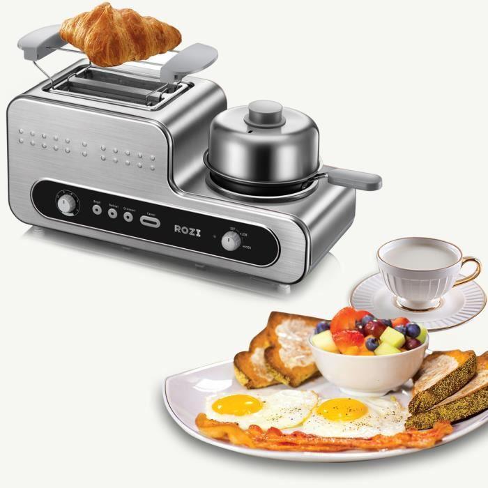 ROZI Machine à pain Grille-pain en acier Inoxydable avec poêle-Blanc