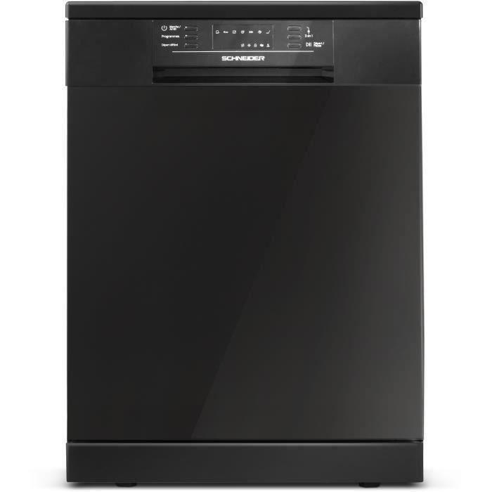 Lave-vaisselle SCHNEIDER SCDW4713DBS - 13 couverts - Largeur 60 cm - Classe A++ - 47 dB - Black Shiny