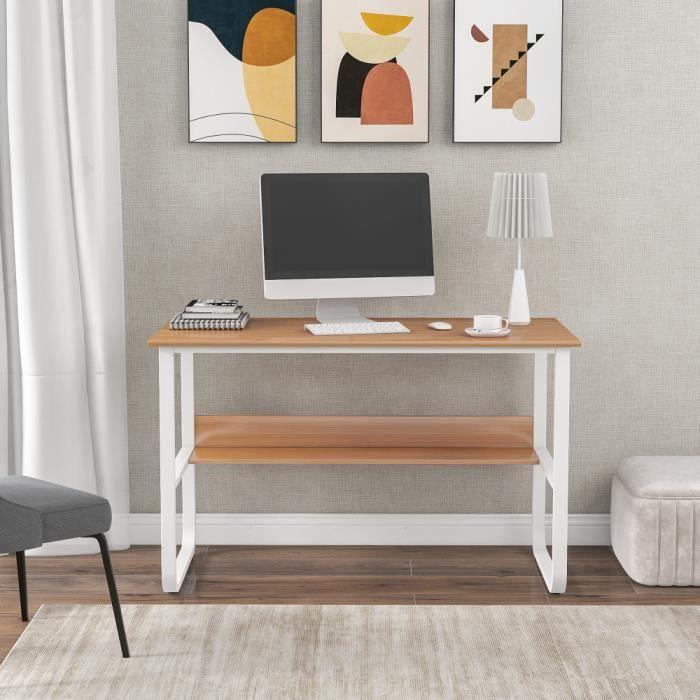 Vanker Bureau Informatique - Table de Travail Avec étagère Cadre en Acier Adapté Domicile 120x60x73cm Couleur Bois