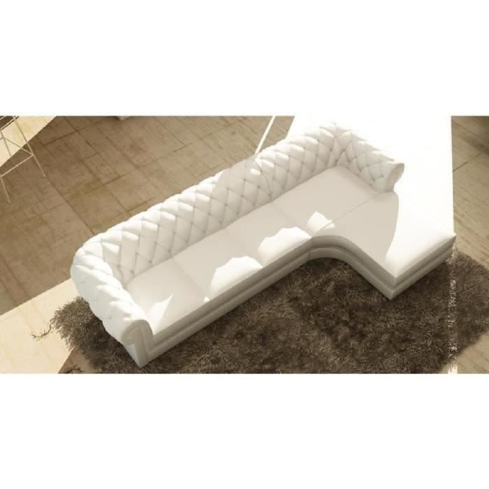 canap d 39 angle blanc capitonn chesterfield modern achat vente canap sofa divan cdiscount. Black Bedroom Furniture Sets. Home Design Ideas