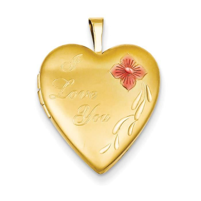 1/20 mm émaillé 20 or I Love You Heart Locket
