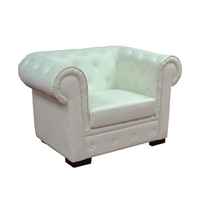 fauteuil chesterfield en pu blanc achat vente fauteuil. Black Bedroom Furniture Sets. Home Design Ideas