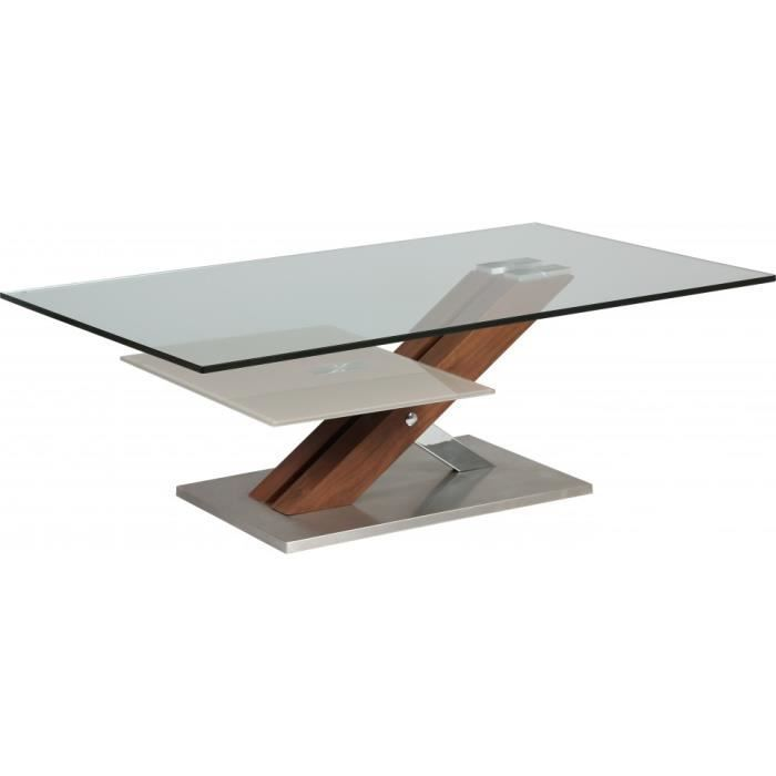 Table basse design verre tremp double plateau pied noyer - Table basse design bois et verre ...