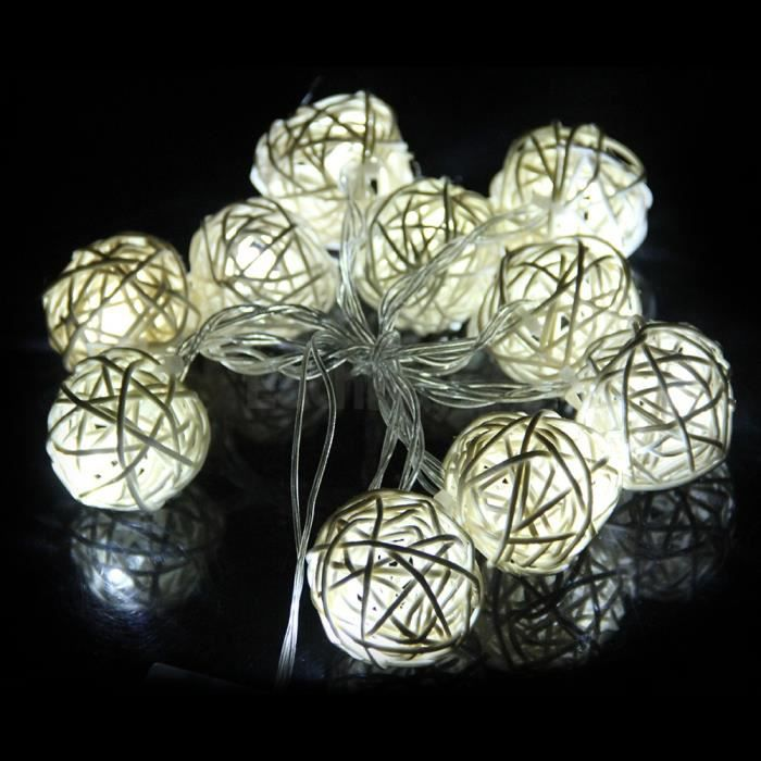 guirlande lumineuse boule 10 leds blanc 1 2m d co achat. Black Bedroom Furniture Sets. Home Design Ideas