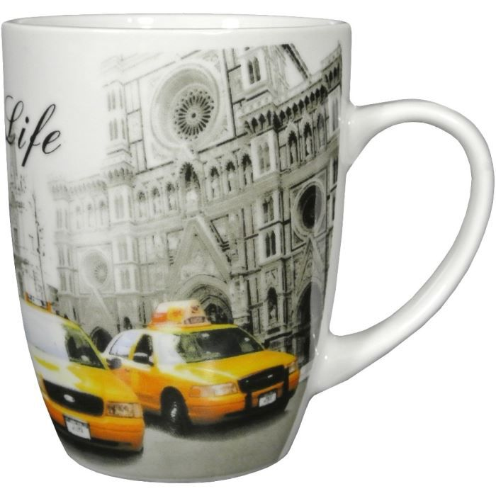 mug tasse caf life in new york taxi design b achat vente bol mug mazagran cdiscount. Black Bedroom Furniture Sets. Home Design Ideas