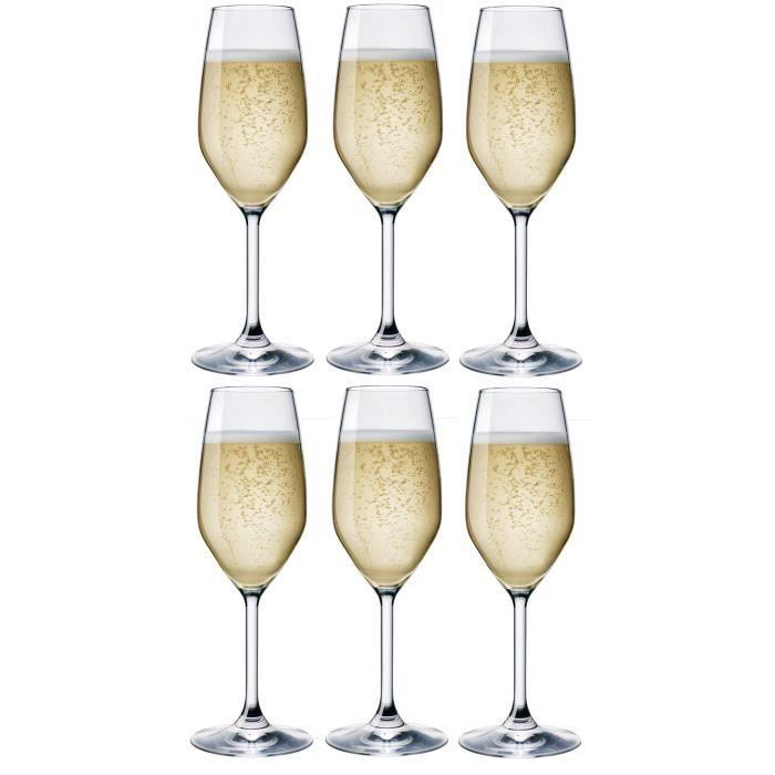 8 oz Bormioli Rocco Divino Flûte à champagne Verres Lot de 6-240ml