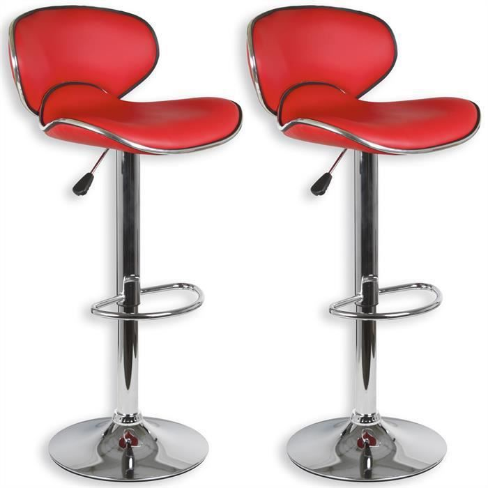 Lot De 2 Tabourets Bar LOUNGE Chaise Haute Design Rglable Avec Dossier Revtement Synthtique Rouge