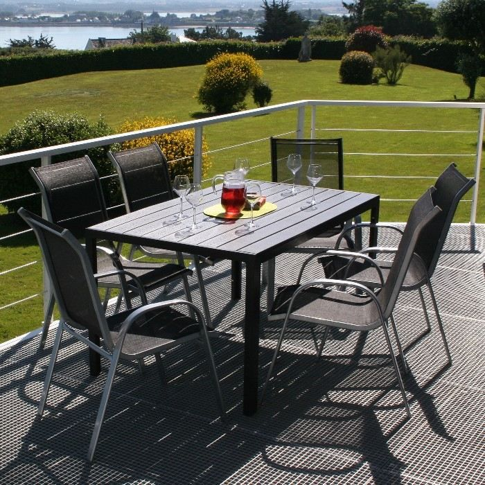 Ensemble de jardin aluminium table 6 chaises achat vente salon de jar - Ensemble table de jardin ...