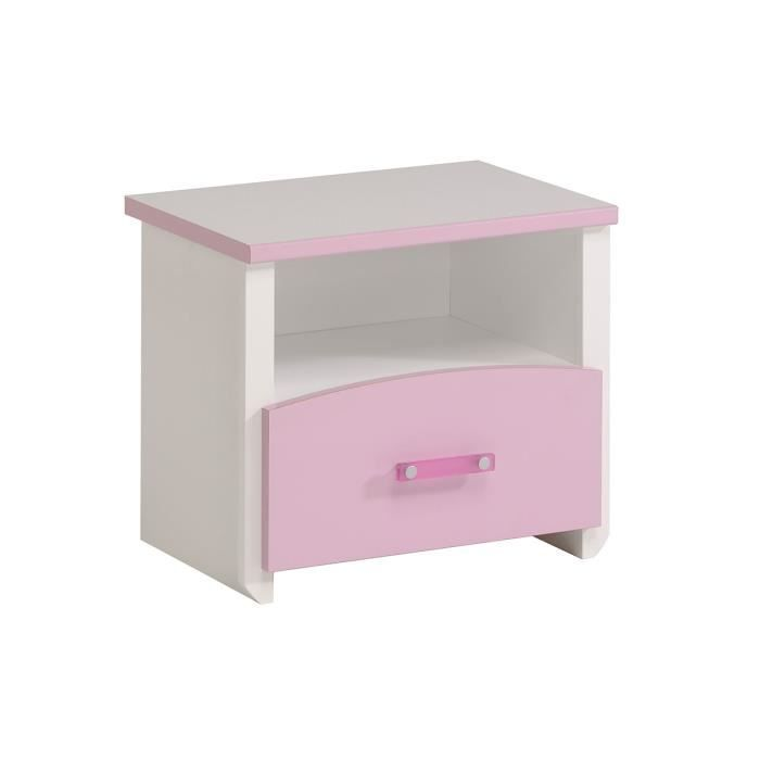 Table de chevet enfant 1 tiroir blanc et rose c for Table de chevet pour mezzanine