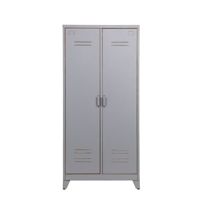 armoire en m tal gris 2 portes maxim couleur gris achat vente armoire de bureau armoire en. Black Bedroom Furniture Sets. Home Design Ideas
