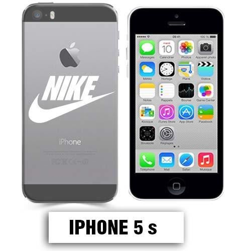 coque transparente iphone 5 5s nike blanc