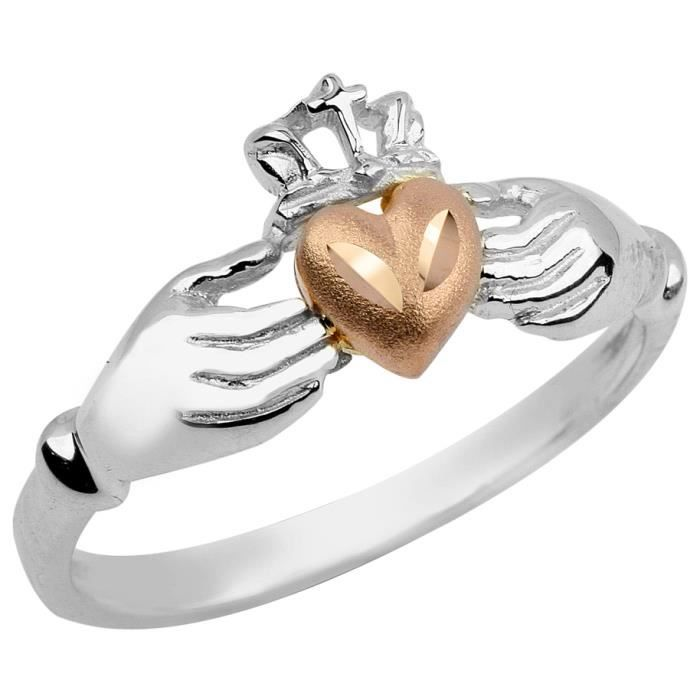 Bague Femme 10 ct Or Blanc 471/1000 Irish Claddagh