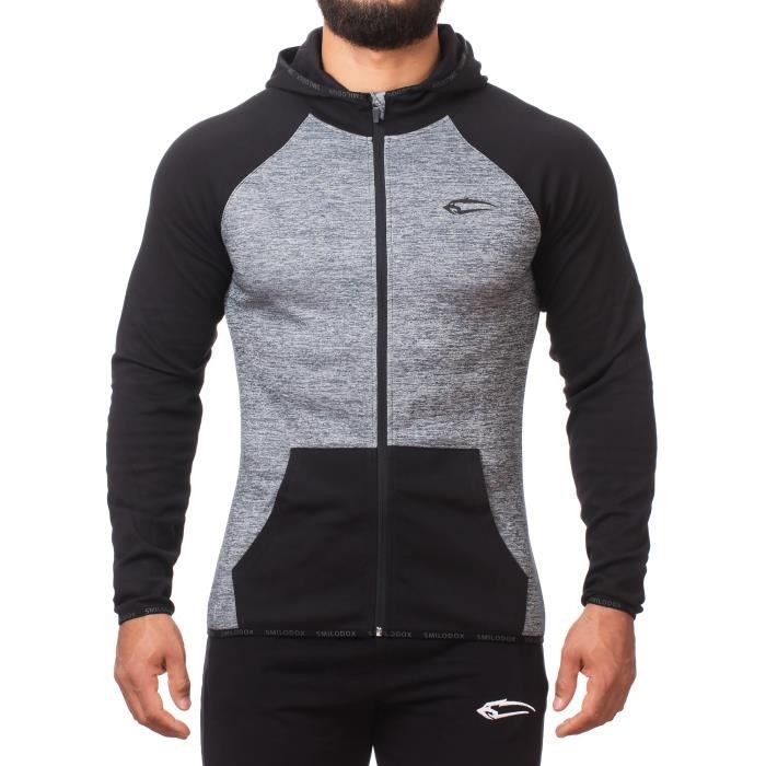 SMILODOX Pull à capuche homme   Zip Hoodie pour Sport Fitness ... 0b44ebf5f9dc