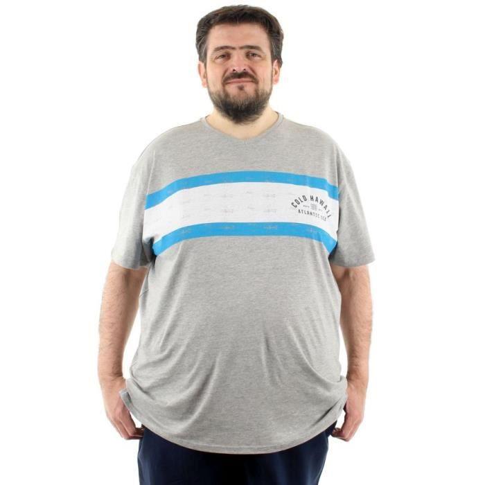 T Shirt col V imprimé grande taille homme