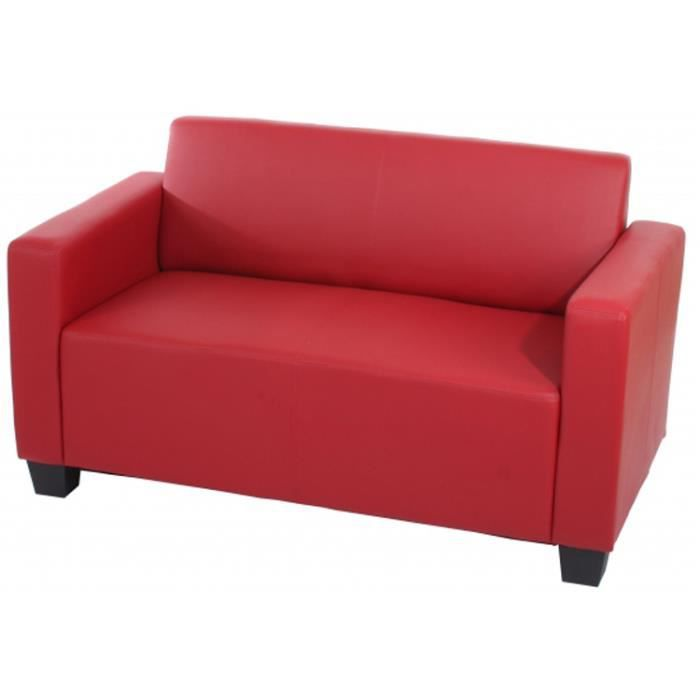 canap de 2 places lyon en simili cuir rouge d achat vente canap sofa divan simili. Black Bedroom Furniture Sets. Home Design Ideas