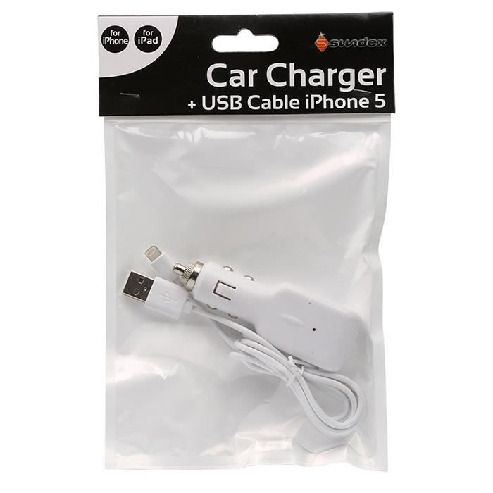 chargeur voiture iphone 5 cable usb fourni achat. Black Bedroom Furniture Sets. Home Design Ideas